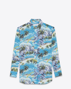 Signature YVES Collar Oversized Shirt in Multicolor Hawaiian Printed Viscose