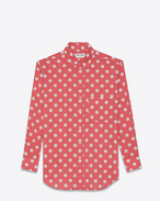 Signature YVES Collar Oversized Shirt in Rose and White Polka Dot Printed Cotton and Viscose