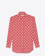 Camicia Signature Oversized con collo YVES rosa e bianca in cotone e viscosa con stampa a pois