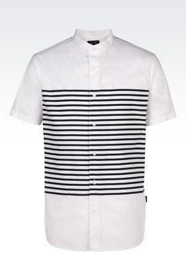 Armani Short sleeve shirts Men slim fit shirt in cotton oxford