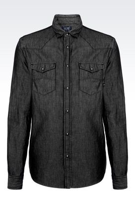 Armani Long sleeve shirts Men shirt in cotton twill