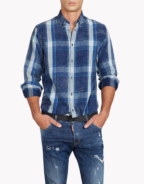 indigo check shirt shirts Man Dsquared2