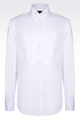 Armani Long sleeve shirts Men dress shirt with bib-front