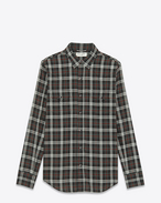 Classic Western Shirt in Black Green and White Plaid Cotton