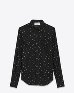 Classic Western Shirt in Black and White Rinse Star Printed Cotton