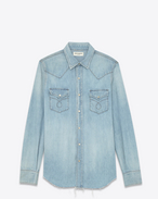 Classic Western Shirt in Light Stone Blue Cotton and Linen