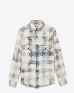Distressed Shirt in Black and White Bleached Cotton, Polyethylene and Elastane Plaid