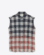 Distressed Sleeveless Shirt in Blue, Red and Black Plaid Cotton