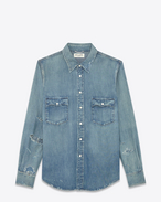 Western Distressed Shirt in Light Blue 70's Trash Denim