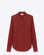 Classic Western Shirt in Red and Black Rinse Plaid Cotton and Silk