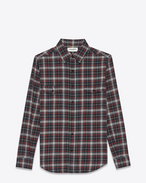 Shirt in Black and Red Plaid Cotton