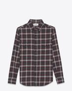 Chemise en coton à motif écossais noir et rouge