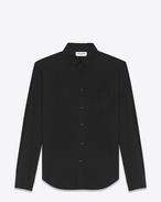 Camicia signature con collo YVES  oversize nera in popeline di cotone