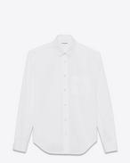 Chemise oversize à col YVES en popeline de coton blanche