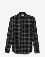 Signature YVES Collar Oversized Shirt in Black and Anthracite Plaid Cotton Madras