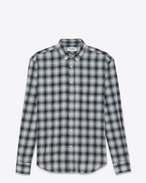 Signature YVES Collar Oversized Shirt in Shell and Black Plaid Cotton, Rayon and Polyester