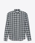 Camicia signature con collo YVES oversize color conchiglia e nera in cotone, rayon e poliestere