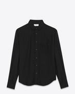 Signature YVES Collar Oversized Shirt in Black Viscose Twill