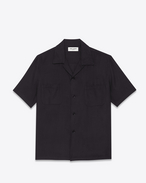 Short Sleeve Hawaiian Shirt in Black Viscose Twill