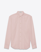 Signature YVES Collar Distressed Evening shirt in Pale Rose Cotton Voile