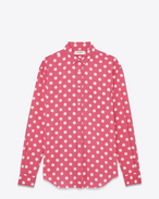 Signature YVES Collar Oversized Shirt in Rose and White Polka Dot Printed Cotton and Rayon
