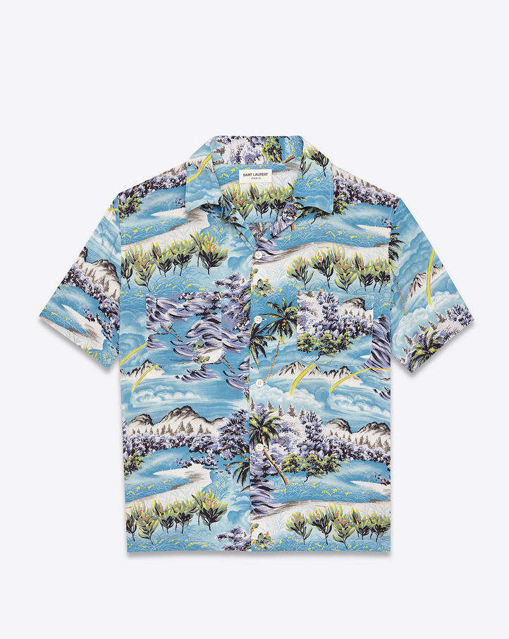 Saint Laurent Short Sleeve Hawaiian Shirt In Multicolor Hawaiian Printed Viscose Ysl Com