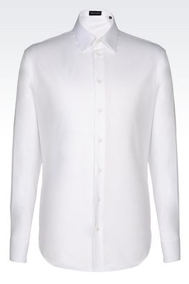 Armani Long sleeve shirts Men shirt in micro weave cotton
