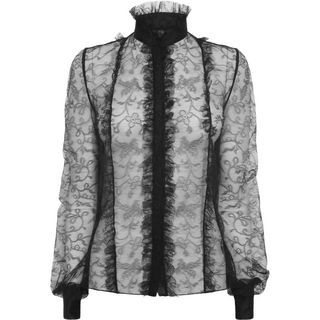 ALEXANDER MCQUEEN, Top & Shirt, Dove Lace Pleat Shirt