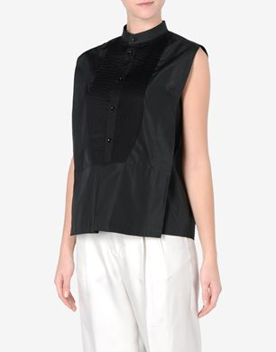 Maison Margiela Sleeveless cotton blouse with Mao collar