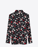paris collar shirt in black and red heart printed twill viscose