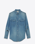 Classic Western Shirt in Light Blue Stonewash Cotton and Linen