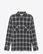GRUNGE Patch Pocket Shirt in Navy and Green Plaid Cotton and Elastane