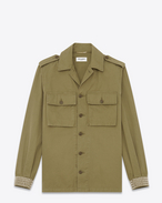 Oversized Studded Military Shirt in Vintage Army Green Cotton Canvas