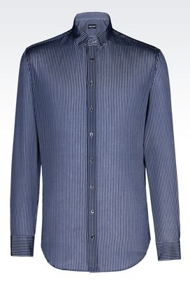 Armani Shirts Men shirt in striped cotton blend