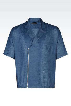 Armani Short sleeve shirts Men linen shirt
