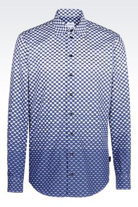 Armani Long sleeve shirts Men poplin shirt with shaded print