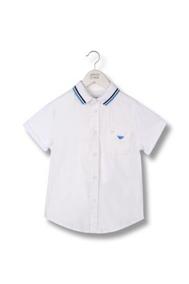 Armani Short sleeve shirts Men shirt in cotton and linen pique