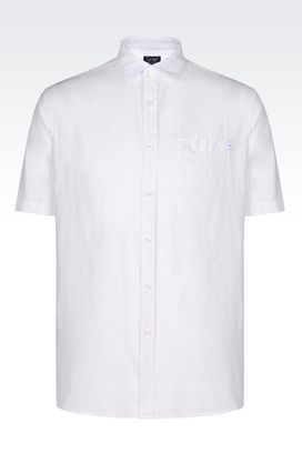 Armani Short sleeve shirts Men shirt in linen and cotton canvas