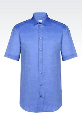 Armani Blouses Men shirt in melange cotton and linen