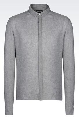 Armani Long sleeve shirts Men slim fit twill shirt