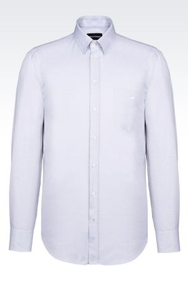 Armani Long sleeve shirts Men regular fit shirt in woven cotton