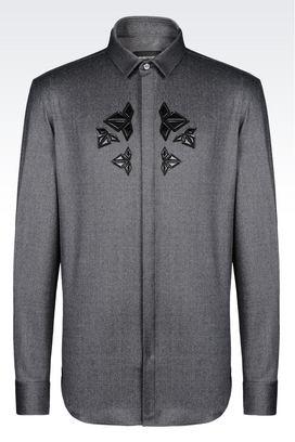 Armani Camicie maniche lunghe Uomo camicia in lana stretch