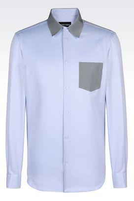Armani Long sleeve shirts Men slim fit shirt in jacquard cotton