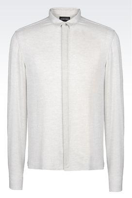 Armani Long sleeve shirts Men slim fit gauze shirt