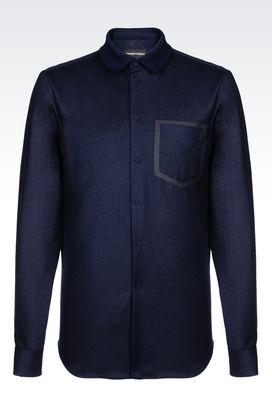 Armani Long sleeve shirts Men slim fit shirt in stretch wool