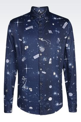 Armani Long sleeve shirts Men slim fit shirt in satin