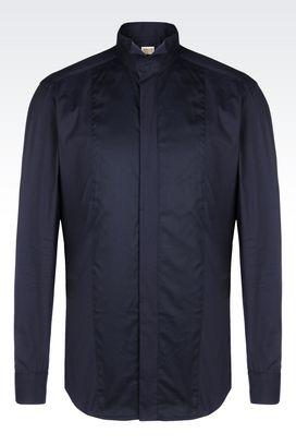 Armani Long sleeve shirts Men dress shirt in poplin