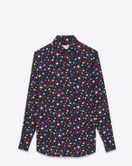 PARIS Collar Shirt in Black, Blue and Red Star Printed Viscose Twill