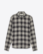 Oversized Shirt in Black and White Tartan Plaid Wool and Nylon
