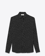 Signature YVES Collar Shirt in Black and Beige Polka Dot Printed Viscose
